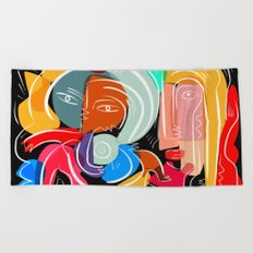 Love your family expressionist cubist street art Beach Towel