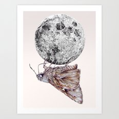 In which a moth is enticed by the light of the moon Art Print