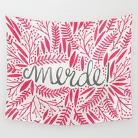 french Wall Tapestries featuring Pardon My French – Pink by Cat Coquillette