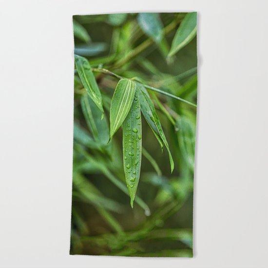 Lush Green Tropical Bamboo Leaf Beach Towel