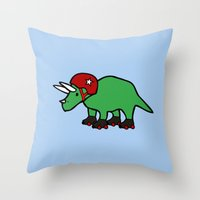 roller derby Throw Pillows featuring Roller Derby Triceratops by Jez Kemp