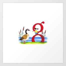 g is for goose Art Print
