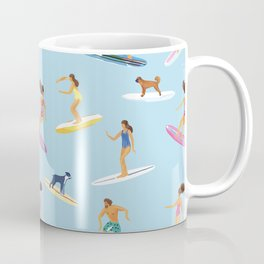 surfers watercolor pattern Coffee Mug