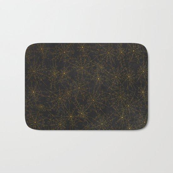 Autumn-world 4 - gold spiderwebs on chalkboard Bath Mat