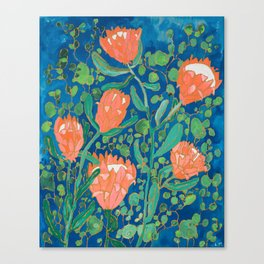 Coral Proteas on Blue Pattern Painting Canvas Print