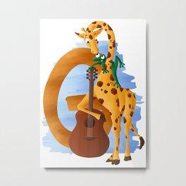 G comme Girafe Metal Print