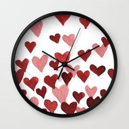 Valentine's Day Watercolor Hearts - red Wall Clock