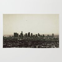 los angeles Area & Throw Rugs featuring Los Angeles by MojoPhoto59