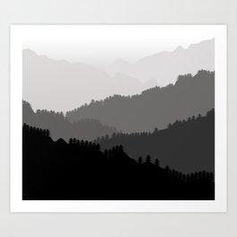 Misty Moutains Art Print