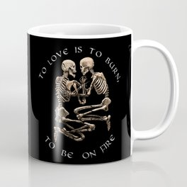 The Pompeii Lovers To Love Is To Burn Jane Austen Valentine's Day Skeleton Goth Gift Gothic Gifts Coffee Mug