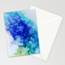 Abstract Mood Blue Turquoise and lima green Stationery Cards