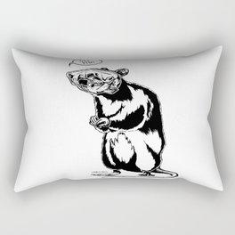 Get Bent Rat Skull Ink Rectangular Pillow