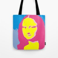 mona lisa Tote Bags featuring Mona Lisa by Becky Rosen