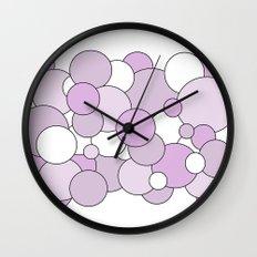 Bubbles - purple and white. Wall Clock