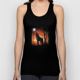 Howling Wolf at Sunset Unisex Tank Top