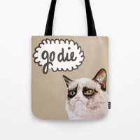 grumpy Tote Bags featuring Grumpy by Liffy Designs