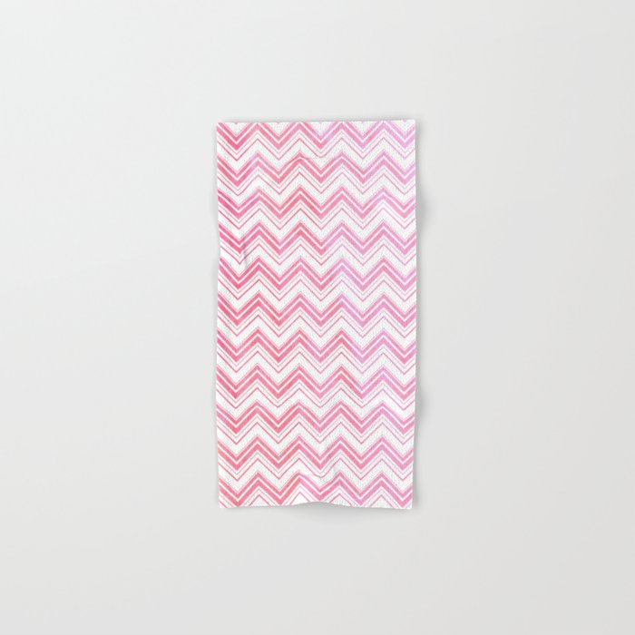 Chevron pattern pink watercolor on white Hand & Bath Towel