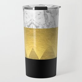 Stacked - gold foil black and marble cell phone case golden urban minimal retro modern city hipster  Travel Mug