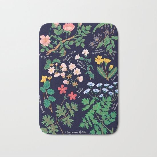 Flowers of the hedgerow Bath Mat