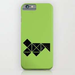 Hand Made Squares, Triangles with Ink on Paper on Warm Green iPhone Case