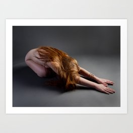 1727-PDJ Nude Redhead Bowing Down Hands Out Art Print