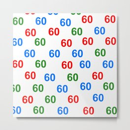 Number pattern, colorful pattern 60, anniversary 60, gift 60 Metal Print