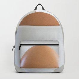 Boiled egg in white. Backpack