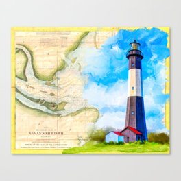 Tybee Island Lighthouse - Vintage Nautical Map Collage Canvas Print