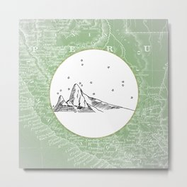 Machu Picchu, Peru, South America - Seven New Wonders Skyline Illustration Drawing Metal Print