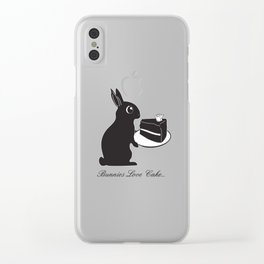 Bunnies Love Cake, Bunny Illustration, cake lovers, animal lover gift Clear iPhone Case