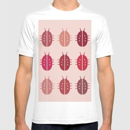 LADYBIRDS ON PINK BACKGROUND T-shirt