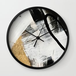Armor [9]: a minimal abstract piece in black white and gold by Alyssa Hamilton Art Wall Clock