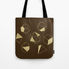 Dice Outline in Gold + Brown Tote Bag