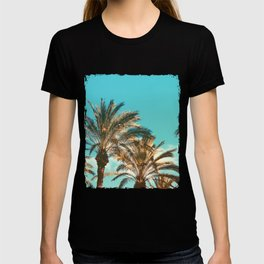 Tropical Palm Trees  - Vintage Turquoise Sky T-shirt