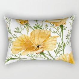 California Poppies - Watercolor Painting Rectangular Pillow