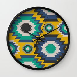Ethnic in blue, green and yellow Wall Clock
