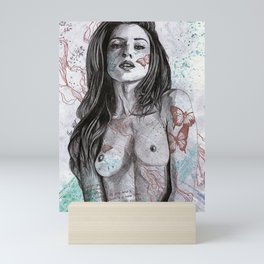 Nothing Violates This Nature (erotic drawing, nude butterfly girl) Mini Art Print