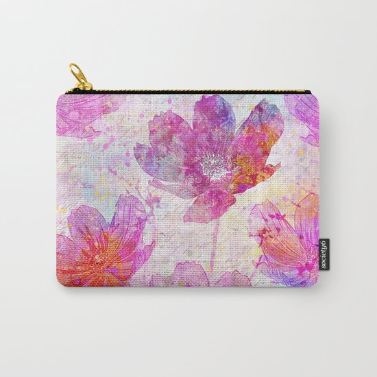 colorful Flowers mixed media art Carry-All Pouch