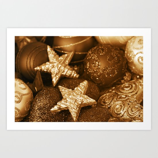 Golden Christmas  Art Print