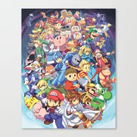 super smash bros Canvas Prints featuring SUPER SMASH BROS 4 by EB & JJ