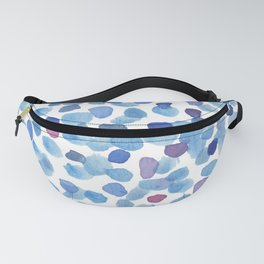 Blue and Purple Watercolor Drops Fanny Pack