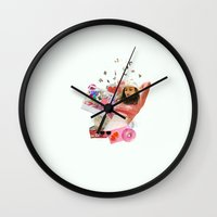 charli xcx Wall Clocks featuring Charli XCX by Kat Heroine