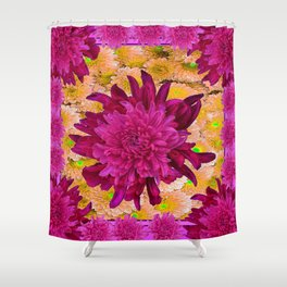 Stylized Burgundy Purple Yellow Chrysanthemums Floral Garden Shower Curtain