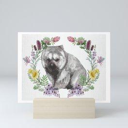 Wombat in Floral Wreath Mini Art Print