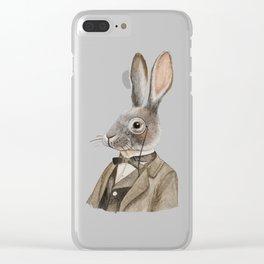 Vintage Gentleman Rabbit Clear iPhone Case