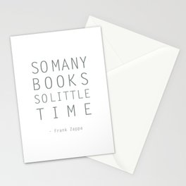So Many Books So Little Time Zappa Quote Stationery Cards