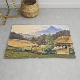 12,000pixel-500dpi - Friedrich Loos - Summer landscape in the mountains - Digital Remastered Edition Rug