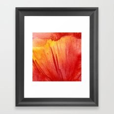 Red Orange Abstract Watercolor Texture, Poppy Flower Framed Art Print