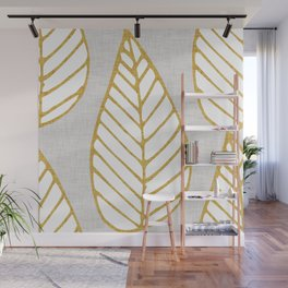 Winter Leaves Grey and Gold Wall Mural