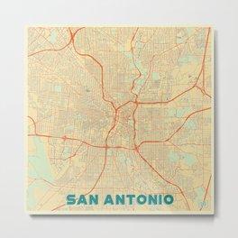San Antonio Map Retro Metal Print